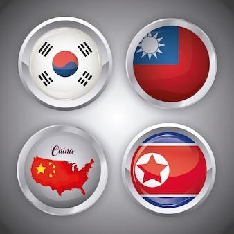 Set di icone di bandiere asiatiche in forme di pulsanti