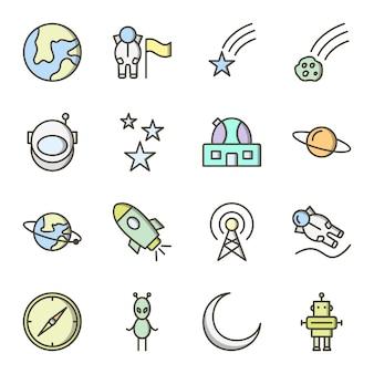Icona set di astronomia