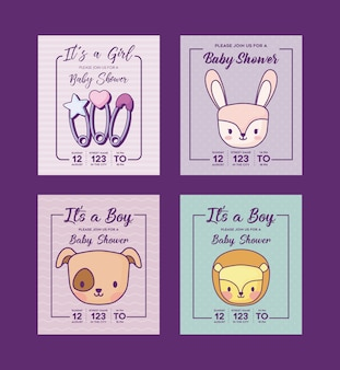 Set di icone di baby shower inviti con simpatici animali su sfondo viola