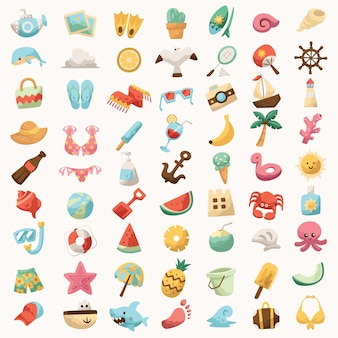 Icon set for beach holiday cute colorful per sign tour in viaggio per la maglietta