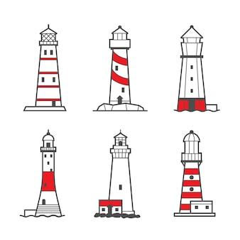 Set di icone di fari in bianco e nero. torri faro di ricerca per la guida alla navigazione marittima