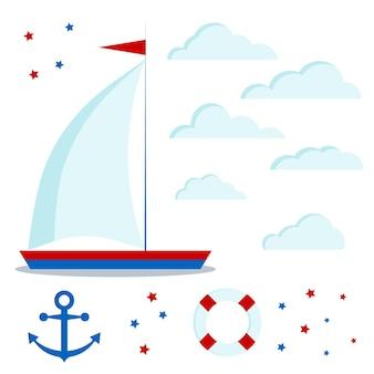 Set di icone di barca a vela blu e rossa con una vela, nuvole, stelle, ancora, salvagente.