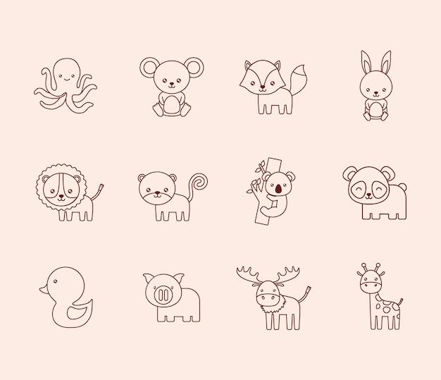 Set di icone di simpatici animali su sfondo bianco