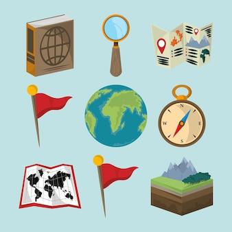 Set di icone geografia