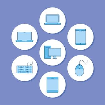 Set di icone del computer portatile