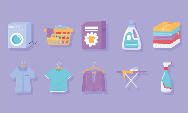 Set di icone di vestiti per il bucato