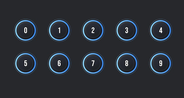 Set di icone del punto elenco numerico da 1 a 10 con effetto neumorfismo oscuro