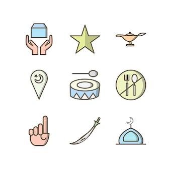 Icona set di ramadan per uso personale e commerciale