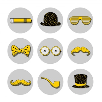 Set di icone con bombetta, cappello a cilindro, occhiali da vista, baffi sui bastoncini, sigaro e pipa sui colori giallo e nero