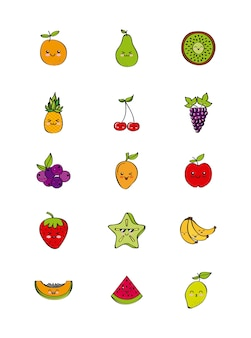 Set di icone con frutti kawaii