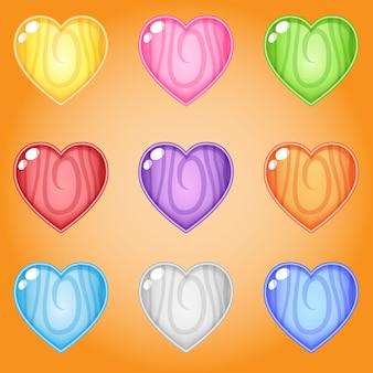 Icona e forma cuori linea legno 9 colori per giochi.