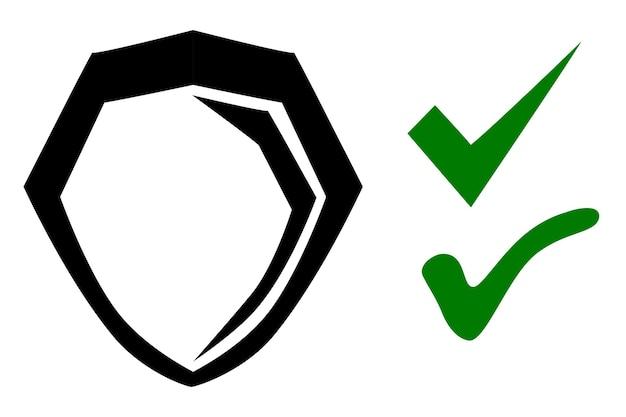 Icona scudo o protezione simbolo vero e falso, schizzo di tiraggio della mano di doodle di vettore semplice