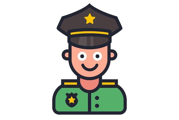 Icona di un ufficiale di polizia sorridente su sfondo bianco. illustrazione vettoriale piatta