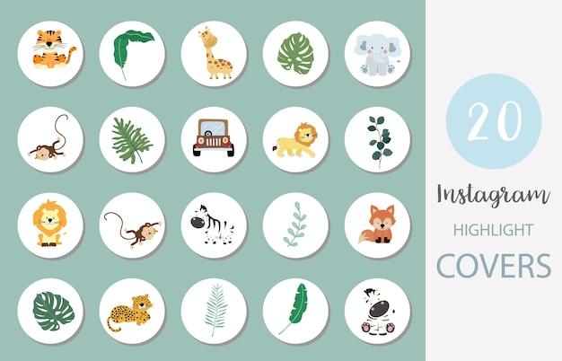 L'icona dei social media evidenzia la copertina con safari, animali, foglie