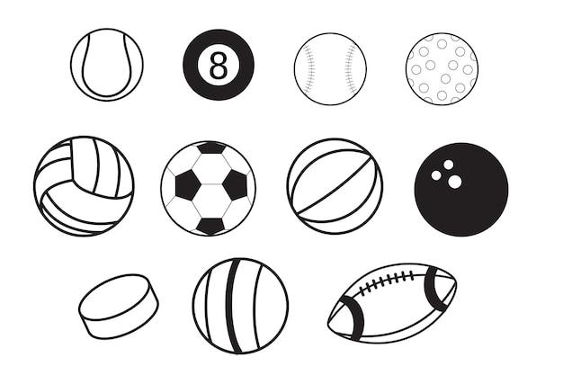 Icona di articoli sportivi per giochi di squadra con dischi da hockey su ghiaccio e palloni per calcio o calcio