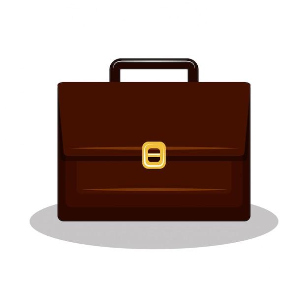 Icona valigia brifcase marrone isolato