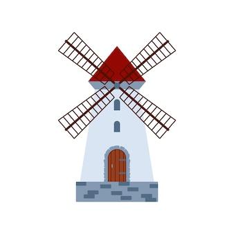 Icona del mulino a vento rurale medievale in pietra tradizionale a