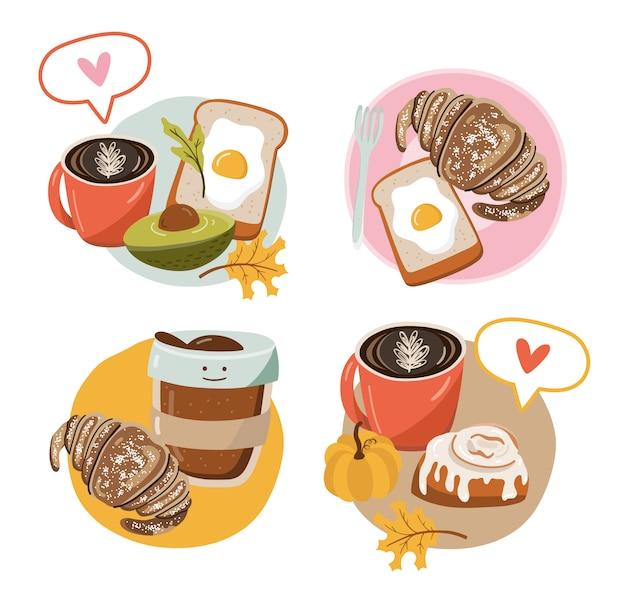Icona con il cibo. idee per la colazione.
