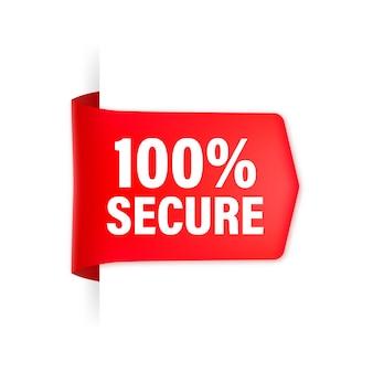 Icona con nastro rosso 100 sicuro