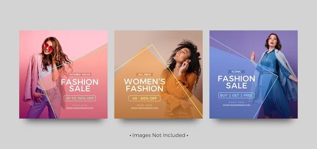 Modelli di post sui social media di vendita di moda iconici