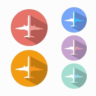 Icone di aerei di diversi colori con un'ombra