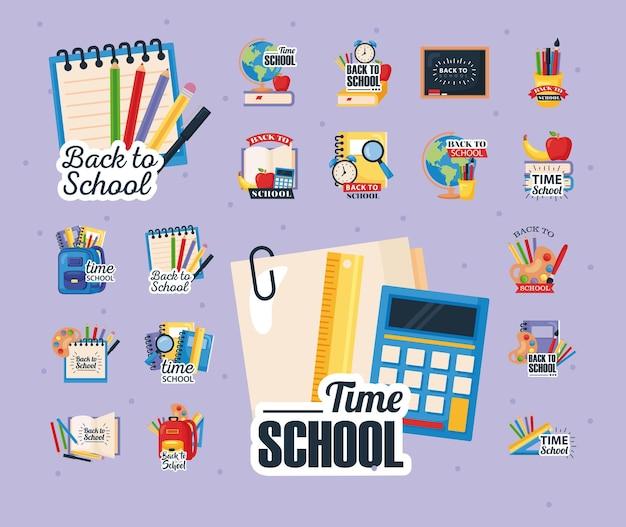 Icone di ritorno a scuola con decorazioni