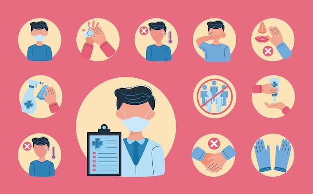 Icone di prevenzione covid19