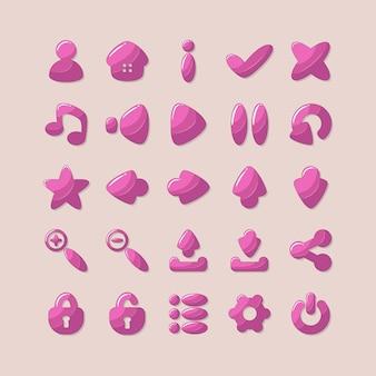 Icone per il design dell'interfaccia di applicazioni e giochi in rosa.