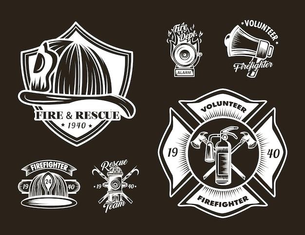Icone dei distintivi dei vigili del fuoco