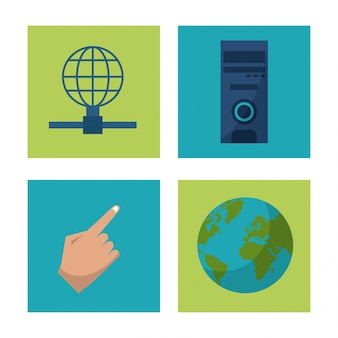 Icone di mano e globo terra e mainframe e rete globale