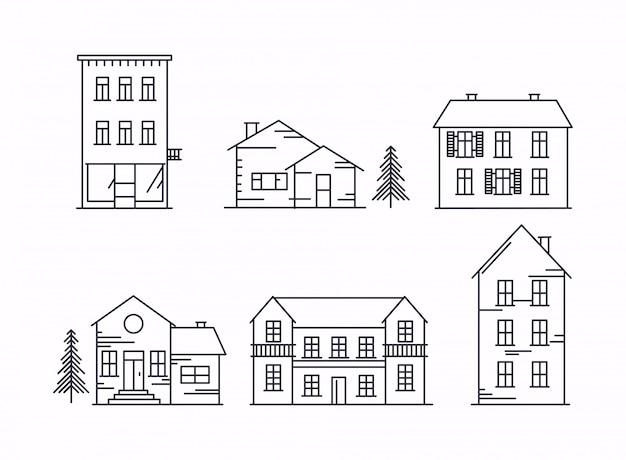 Icone e illustrazioni con edifici, case e alberi.