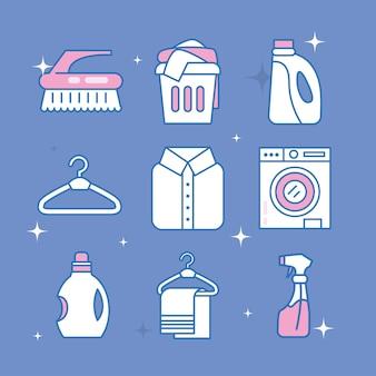 Servizio lavanderia icone