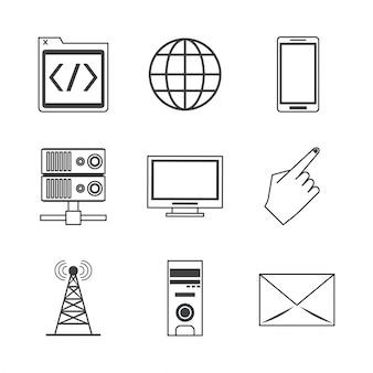 Icone di trasmissione in rete e dispositivi tecnologici