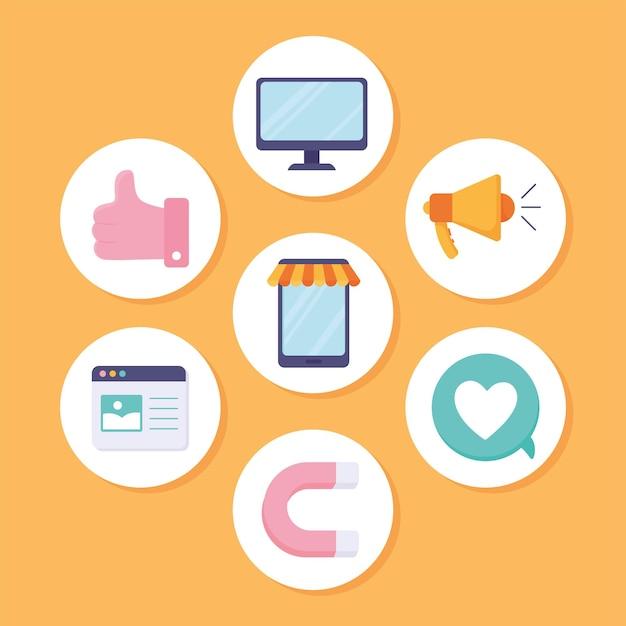 Pacchetto di icone del marketing digitale