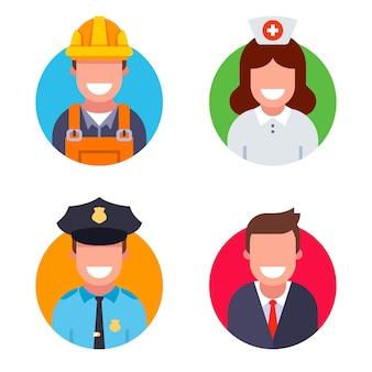 Icone di persone di diversa professione. un insieme di opere socialmente significative. illustrazione piatta dei personaggi. Vettore Premium