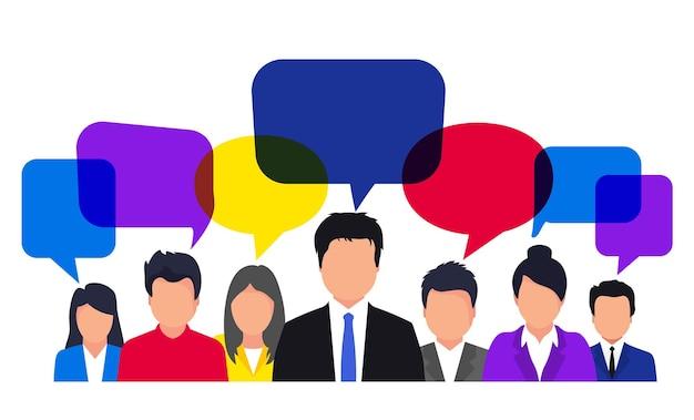 Icone di persone con fumetti. squadra, pensiero, domanda, concetto di brainstorming, idea. concetto di comunicazione. comunicazione di avatar di persone, discussioni relative a feedback, recensioni e discussioni