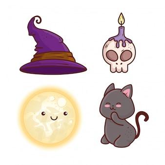 Le icone hanno fissato la decorazione del disegno felice dell'illustrazione di vettore di halloween
