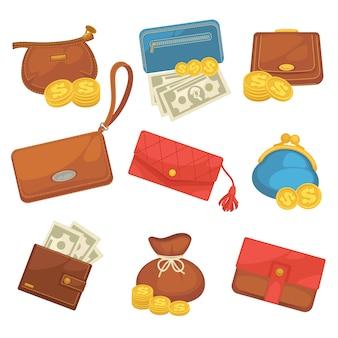 Set di icone di portafogli con lo shopping di denaro.