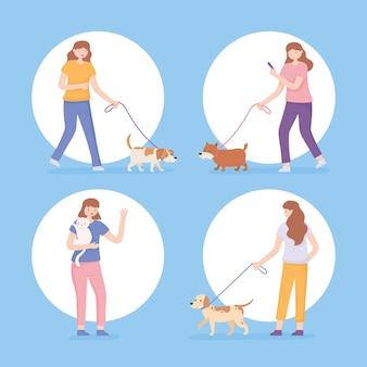 Set di icone donne con animali domestici