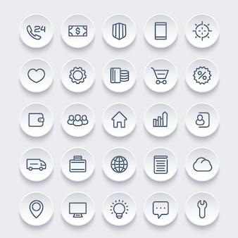 Icone per il web, set di 25 pittogrammi lineari, illustrazione vettoriale
