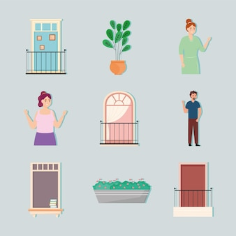 Icone di finestre e balconi