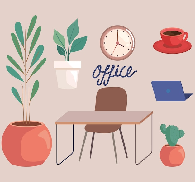 Icone con forniture per ufficio