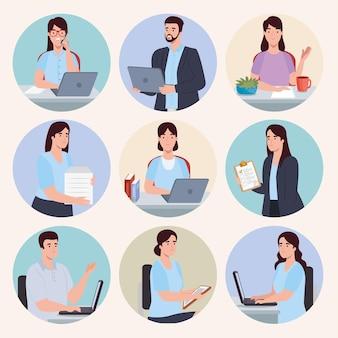 Icone con persone d'affari