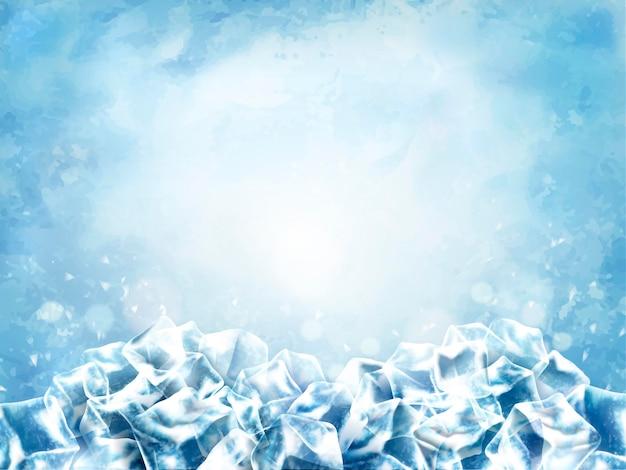 Superficie del cubo ghiacciato, cubi astratti e neve su sfondo azzurro, illustrazione 3d