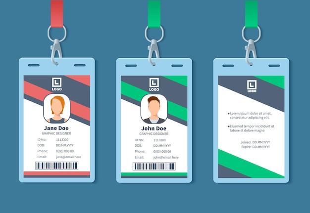Carta d'identità. distintivi del personale di eventi aziendali, etichetta del nome del dipendente di identità. pass di iscrizione alla conferenza con mockup di vettore di progettazione dell'organizzazione. tessera identificativa per conferenza, illustrazione di accesso con carta