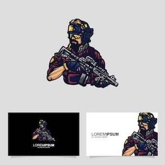 Concetto di design della carta d'identità soldato che tiene un'arma