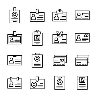 Raccolta delle icone di vettore della linea di carta d'identità