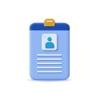 Disegno vettoriale di carta d'identità con stile 3d