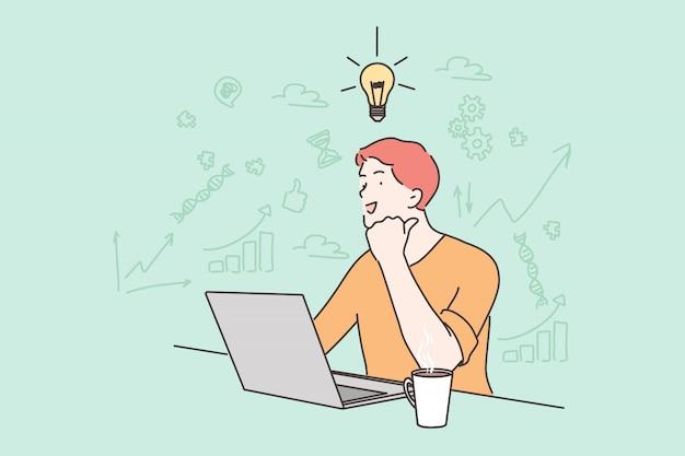 Idea, affari, lavoro, libero professionista, successo, pensiero, problema, concetto di affari.
