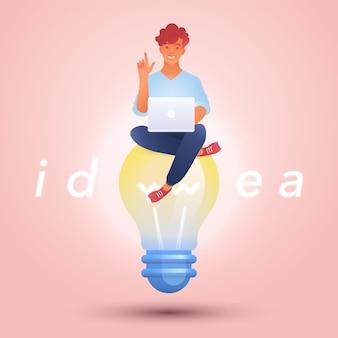 Idea e illustrazione del concetto di educazione con l'uomo che utilizza il computer portatile seduto su elevare la lampadina